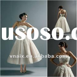 SW0005 2012 Beaded Venice Lace Top Organza Skirt Ankle Length Wedding Dress Short