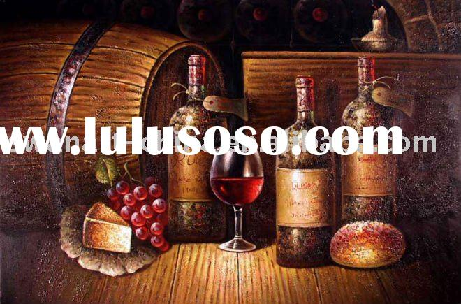 Vintage Red Wine Glass Cellar Tasting Oil Painting