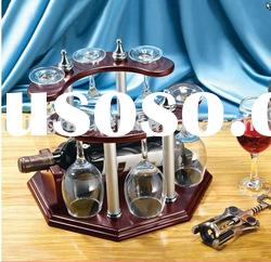 1bottle wine bottle holder with 6 glasses holder/hanging wine rack/red wine glass holder