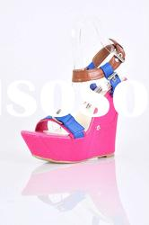 2011 latest hot sell fashion Mei red high heel wedge sandals