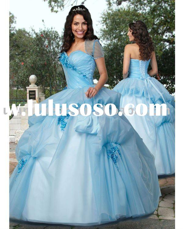 2011 new arrival vintage sweetheart ball gown skirt light blue tulle ruffle quinceanera dresses