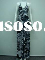 2012 Newest western style halter floral printed casual long sleeve maxi dress