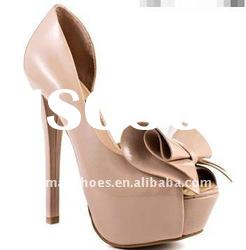 2012 newest beige patent leather platform ladies high heel shoes