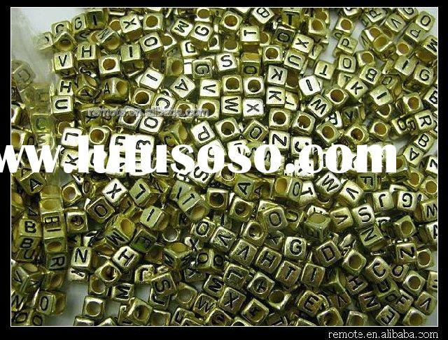 Acrylic Bead Plastic Letter Alphabet Cube Finding Accessory 6mm PL032
