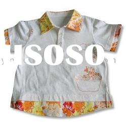 Baby clothes fashion polo shirts made of 2 layer cuffs and bottom