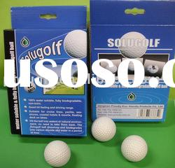 Cold water soluble biodegradable golf ball