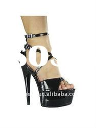 Comfortable black platform high heel sandals with anke straps/wowen high heel shoes