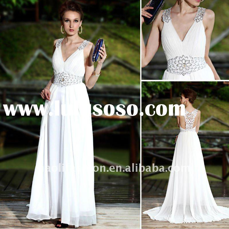 DORISQUEEN 2011 wholesale agent new arrival long sweep white beautiful lady fashion dress