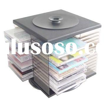 Desktop Clear acrylic CD/DVD holder/case with rotating style