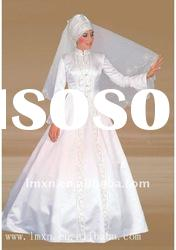High neckline Satin A-line long sleeve embroidery customer made muslim wedding gown