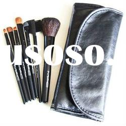 Hot Selling!7 pcs Black Make up Brushes With Leather Bags