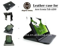 Newest Rotating leather Case for Acer Iconia Tab A500 with stand