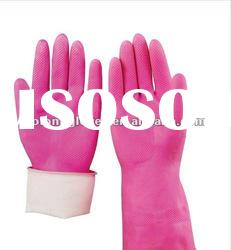Pink latex household gloves