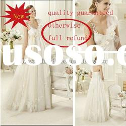 W05281 2012 Hot Sale Elegant White A-line One-shoulder Tulle Lace Floor-length Wedding Dress