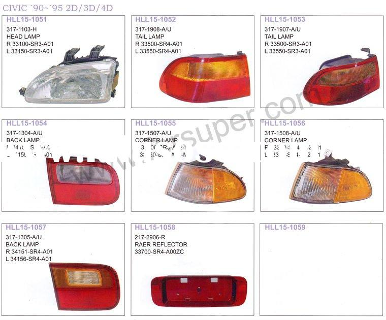 auto lamp and body parts for HONDA CIVIC 1990-1995 2D/3D/4D