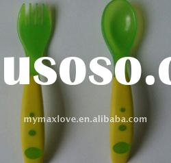 baby kids infant Plastic feeding spoon and fork cutlery