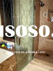 fused fine carving glass shower stall doors for shower rooms