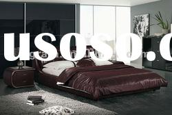 2012 new design elegant soft bed with thin genuine leather and match up with two night stand