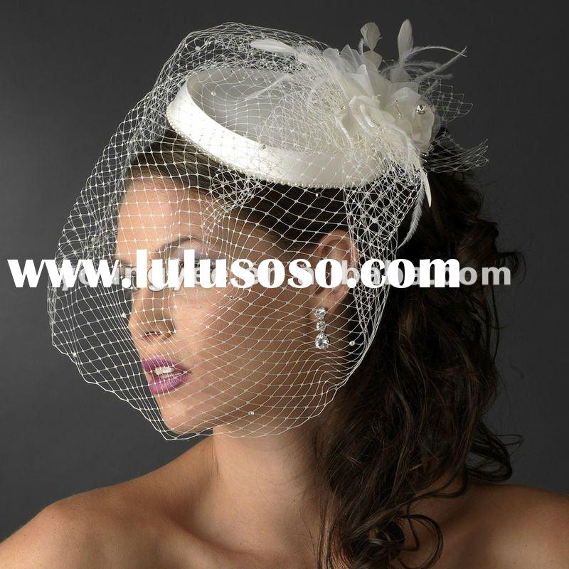 2012 new style best selling simple one layer net and flower bridal birdcage veil (BV001)