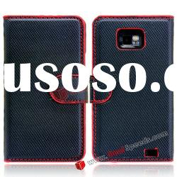 High Quality Credit Card Holder Wallet Leather Case for Samsung Galaxy S2 I9100(Black)