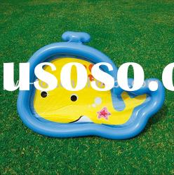Inflatable baby swimming pool with a tadpole shape