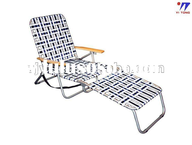 Lawn Web Chaise Wood armrest beach chaise lounge chairs with 3 position chair
