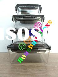 Rectangular glass food container, 4pcs as one set