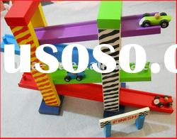 car racetrack toys set or wooden rail track with car