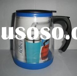 double walled plastic travel mug with paper inserted
