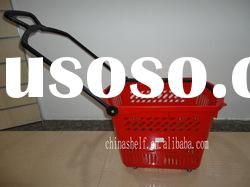 plastic rolling shopping basket