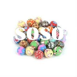 round polymer clay flower beads 8mm