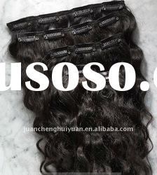 thin metal clips in water wave dark indian human hair extension,remy 100 clip in hair extension sets