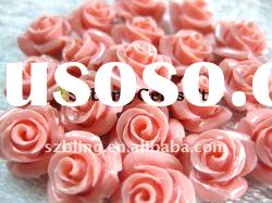Lowest cost gemstone synthetic coral carved flower beads for jewelry