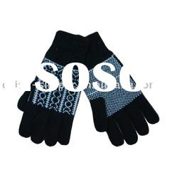 100% acrylic jacquard knitted glove with thinsulate c-40 lining