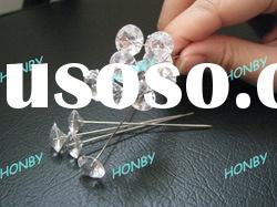 Clear Gem Decorative Floral Stick Pins in White Color