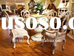 Elegant white dining sets,glass dining table,dining chair,made of wood(B50505)