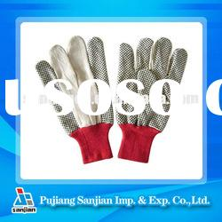 Garden Glove Drill cotton Twill PVC dotted dotting knitted wrist 8 oz 10 oz