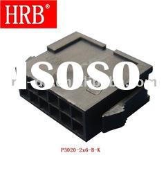 "HRB 3.00mm (0.118"") pitch dual row 12 pin cable connector with mounting wings"