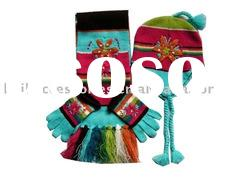 Kids Knitted Acrylic Scarf, Hat, Glove Set with Applications