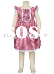 Kids Plaid Lace Small Cap Sleeveless Party Frock