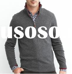 Men's cotton Cashmere pullover zipper open Sweater/pullover quality knitwear man SWT-M10108