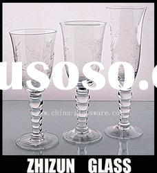 S00196 handmade french red wine glass,crystal clear industries glassware,clear stem ball glass