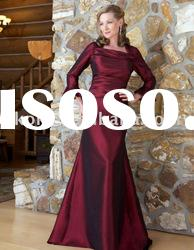 Wine Red taffeta mermaid style perfect designs long sleeve mother dress