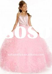 lovely ball gown halter pink children stage costume
