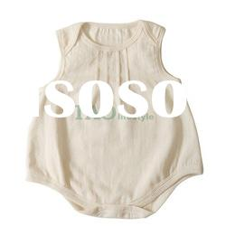 organic cotton sleeveless baby romper, baby clothes ,baby wear