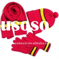 red machine knitted 100% acrylic scarf & gloves & hat