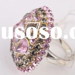 Round Shape Pink Color Stone Ring