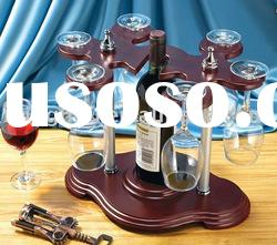 novelty wooden wine rack/wine glass holder with stained color