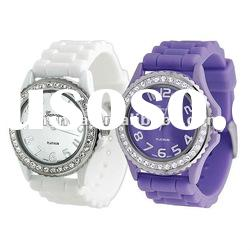 Many style of Geneva watch Hot-sale Silicone Crystal Geneva Watch/promotional gift watch
