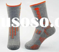 Small MOQ.Coolmax, merino wool, smart wool cushioned trekking outdoor sport socks